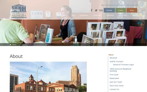 Screenshot of About Page eriecanalmuseum.org - About - Erie Canal Museum - captured July 18, 2018