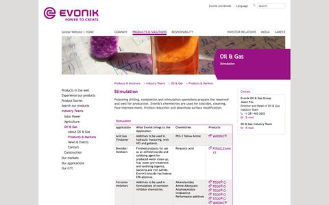 stimulation - Evonik Industries - Specialty Chemicals
