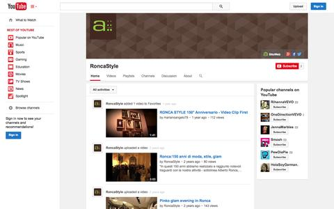 Screenshot of YouTube Page youtube.com - RoncaStyle  - YouTube - captured Oct. 29, 2014