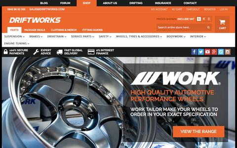 Screenshot of Home Page driftworks.com - Driftworks, Drift performance parts direct to your door - captured Feb. 5, 2016