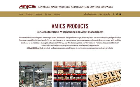 Screenshot of Products Page amics.net - Products | Advanced Manufacturing and Inventory Control SOftware - captured July 10, 2018