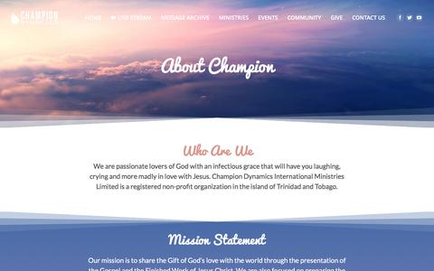Screenshot of About Page championdynamics.org - About Us | Champion Dynamics - captured Nov. 4, 2016