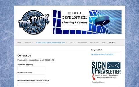 Screenshot of Contact Page timturkhockey.com - Contact - Tim Turk Hockey | Tim Turk Hockey - captured Nov. 11, 2018
