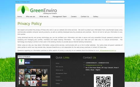 Screenshot of Privacy Page greenenviro.com.ng - Privacy Policy - Green Enviro - captured Oct. 27, 2014