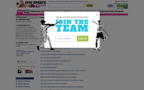 Screenshot of FAQ Page epicsports.com - Epic Sports Frequently Asked Questions - captured Oct. 25, 2015