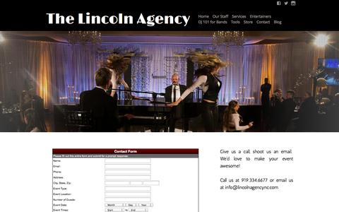 Screenshot of Contact Page lincolnagencync.com - The Lincoln Agency - Contact - captured Oct. 6, 2014
