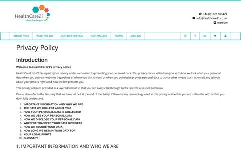 Screenshot of Privacy Page healthcare21.co.uk - Privacy Policy | HealthCare21- Medical Communications Agency - captured Nov. 10, 2018