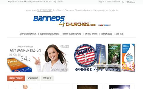 Screenshot of Home Page banners4churches.com - Banners4Churches | America's #1 SUPERSTORE for Church Banners and Displays - captured Oct. 9, 2017