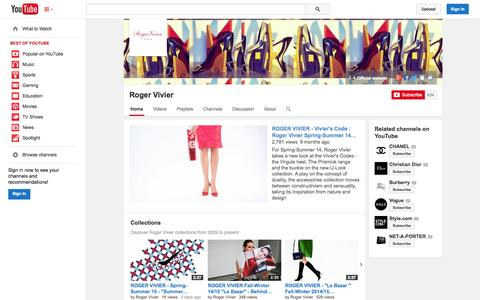 Screenshot of YouTube Page youtube.com - Roger Vivier  - YouTube - captured Oct. 26, 2014