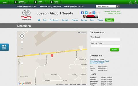 Screenshot of Maps & Directions Page josephairporttoyota.com - Directions to Joseph Airport Toyota | OH Toyota Sales - captured Jan. 9, 2016