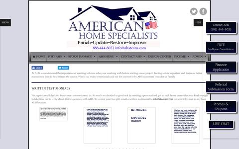 Screenshot of Testimonials Page americanhomespecialists.com - Testimonials - American Home Specialists - captured July 25, 2016