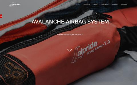 Screenshot of Home Page Products Page alpride.com - Alpride - Swiss Avalanche Airbag System - captured July 29, 2018