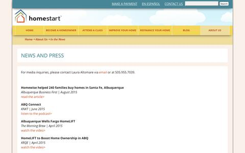 Screenshot of Press Page homestartnm.org - In the News | Homestart | Home buyer assistance in Albuquerque, NM - captured July 15, 2016