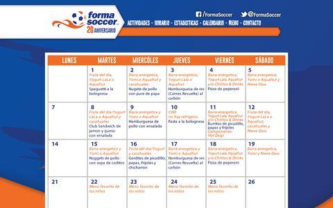 Screenshot of Menu Page formasoccer.com - Forma Soccer - El mejor Curso de Verano deportivo de México - captured Sept. 30, 2014