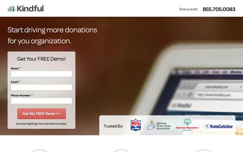 Screenshot of Landing Page kindful.com - Nonprofit CRM| Online Fundraising - captured Oct. 27, 2014