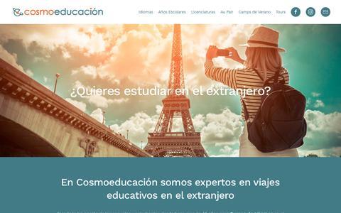 Screenshot of Home Page cosmoeducacion.com - Inicio - Cosmoeducacion - Idiomas, Años Escolares y Licenciaturas en el extranjero - captured Nov. 4, 2018