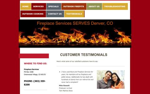 Screenshot of Testimonials Page denverfireplaceservices.com - Read What Our Customers Are Saying About Fireplace Services - captured Oct. 6, 2014