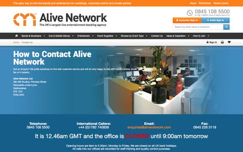 Screenshot of Contact Page alivenetwork.com - How To Contact Alive Network Entertainment Agency - captured June 24, 2017