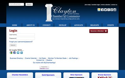 Screenshot of Login Page claytonchamber.com - Login - Clayton Chamber of Commerce, NC - captured Nov. 6, 2016