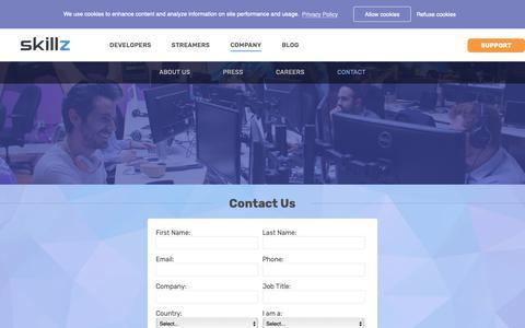 Screenshot of Contact Page skillz.com - Contact - Skillz - captured Feb. 3, 2019