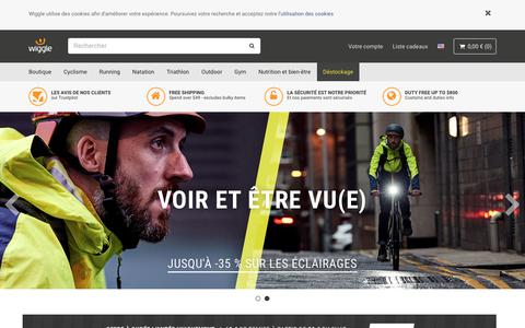 Screenshot of Home Page wiggle.fr - Cyclisme | Running | Natation | Triathlon Wiggle France - captured Oct. 19, 2018