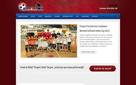 Screenshot of Home Page prosport2009.ro - Scoala de fotbal ProSport 2009 - Focsani, Vrancea - captured Oct. 17, 2015