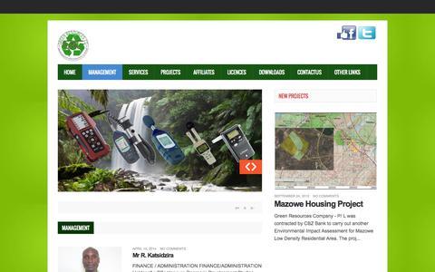 Screenshot of Team Page greenresources.co.zw - Management - captured Oct. 27, 2014