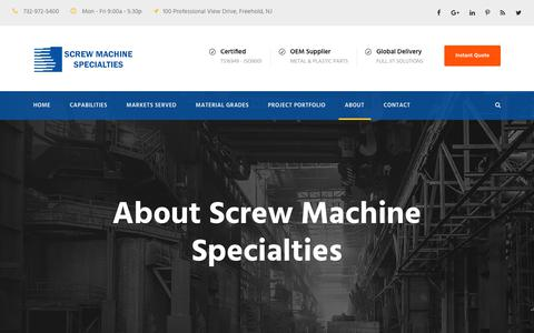 Screenshot of About Page smspecialties.com - Screw Machine Specialties: screw machine shop, manufacturing company - captured Oct. 18, 2017