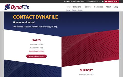 Screenshot of Contact Page dynafile.com - Contact DynaFile | Cloud Document Management Software - captured Aug. 9, 2018