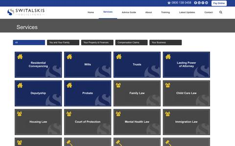 Screenshot of Services Page switalskis.com - Services | Switalskis Solicitors - captured Oct. 9, 2014
