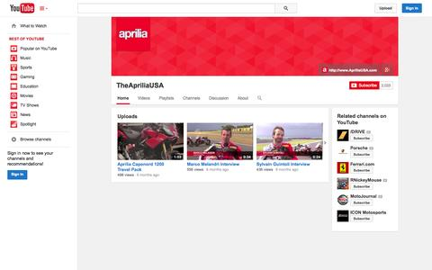 Screenshot of YouTube Page youtube.com - TheApriliaUSA  - YouTube - captured Oct. 30, 2014