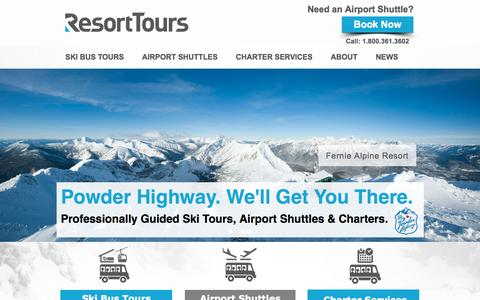 Screenshot of Home Page resorttours.ca - Resort Tours and Transportation - captured Jan. 26, 2015
