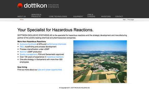 Screenshot of Home Page dottikon.com - DOTTIKON EXCLUSIVE SYNTHESIS AG - captured Oct. 12, 2017