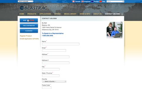 Screenshot of Contact Page blastrac.com - Contact Us/Jobs - Blastrac, NA - captured Oct. 5, 2014