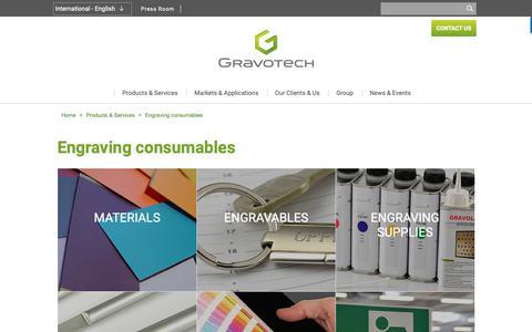Screenshot of Services Page gravotech.com - Laser Engraving Consumables: discover our catalogue | Gravotech - captured Sept. 29, 2018