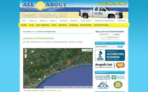 Screenshot of Contact Page allaboutcoastalcomfort.com - Contact All About Coastal Comfort | Ocean Isle Beach Heating/AC Service - captured Oct. 4, 2014