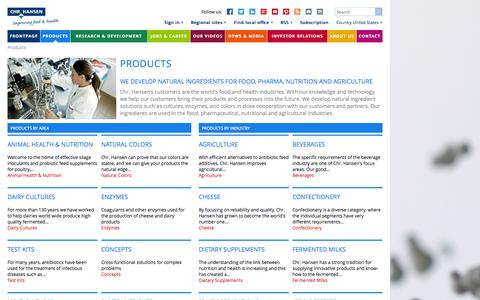 Screenshot of Products Page chr-hansen.com - Products | Natural ingredients | Colors | Cultures | Enzymes - Chr. Hansen | Improving Food & Health - captured Sept. 23, 2014