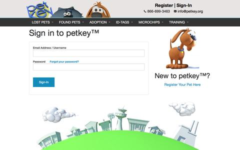 "Screenshot of Login Page petkey.org - Sign in to petkey â""¢ - captured Nov. 5, 2016"