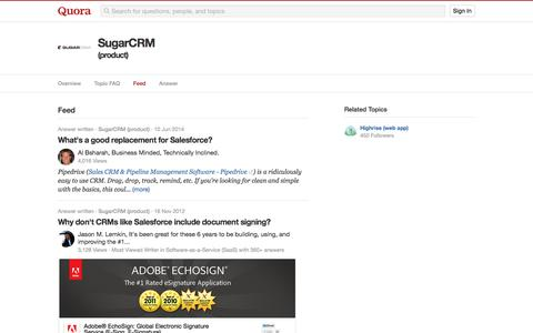 Topic Feed in SugarCRM (product) - Quora