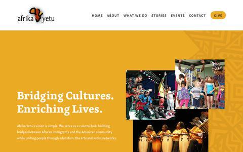 Screenshot of Home Page afrikayetu.org - Afrika Yetu - captured Dec. 18, 2018