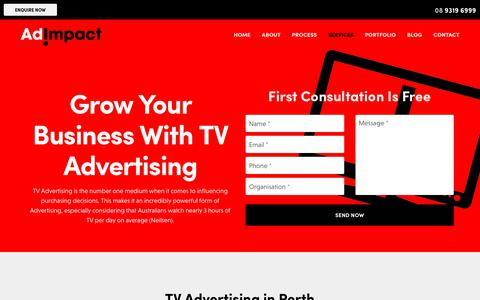 Screenshot of Services Page adimpact.com.au - TV Advertising in Perth: Ad Impact Connects You With Your Audience - captured July 29, 2018