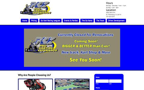 Screenshot of Home Page prokartexp.com - Pro Karting Experience - Tampa Go Kart Track - captured Jan. 31, 2016
