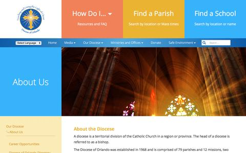 Screenshot of About Page orlandodiocese.org - About Us – Diocese of Orlando, Florida - captured Nov. 22, 2016