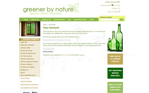 Screenshot of Login Page greenerbynature.co.uk - Your Account - Ethical Gifts, Reusable Shopping Bags, Leather Bound Journals - captured Sept. 30, 2014