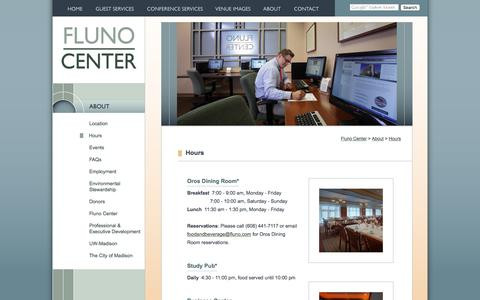 Screenshot of Hours Page fluno.com - Hours of the Fluno Center, Madison, Wisconsin - captured Feb. 10, 2016