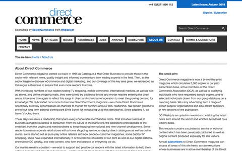 Screenshot of About Page directcommercemagazine.com - Direct Commerce Magazine | About Us - captured Sept. 27, 2018