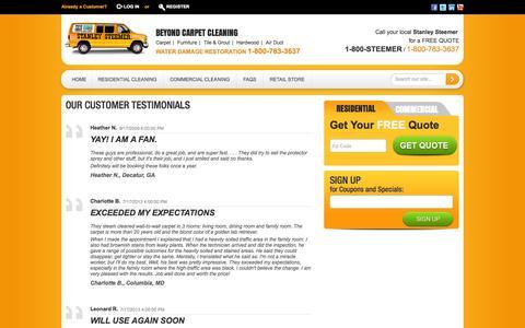 Screenshot of Testimonials Page stanleysteemer.com - Testimonials - captured Sept. 24, 2014