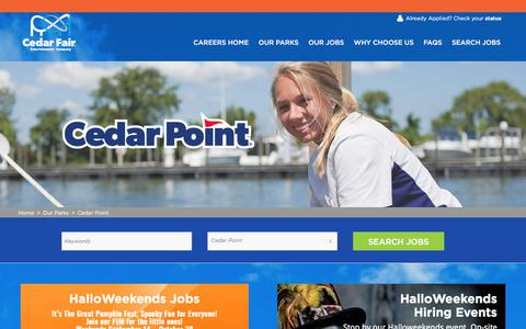 Screenshot of Jobs Page cedarfair.com - Fun Jobs at Cedar Point   Search Park Jobs and Apply Online Now - captured Sept. 22, 2018