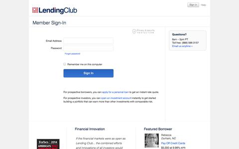 Screenshot of Login Page lendingclub.com - Member Sign-In - Lending Club - captured Sept. 18, 2014
