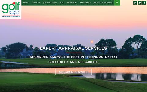Screenshot of Home Page golfprop.com - Golf Property Analysts  Golf Course Advisors, Appraisers, Brokers - captured Sept. 29, 2018